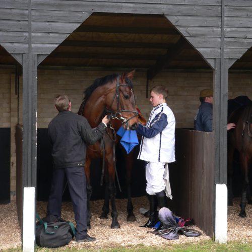 Strike Three being saddled at Huntingdon
